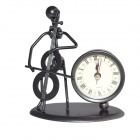 DEDO-Eisen-Kunst-MG-214 Modische Cello Eisen-Man Steel Art Clock - Schwarz