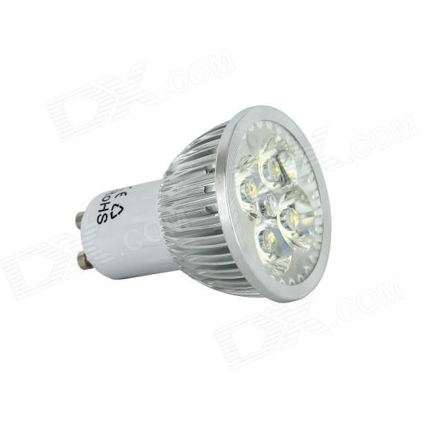 KindFire GU10 4 x 1W 240lm 3500K 4-LED Warm White Light Bulb - White + Silver (AC 85~265V)