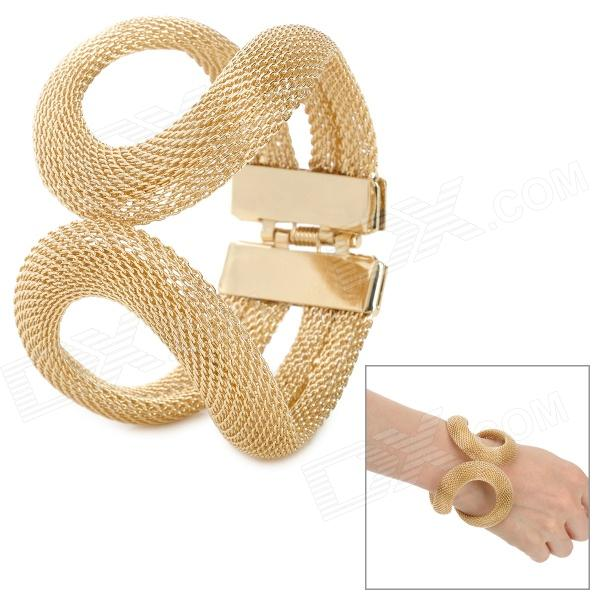 Mesh Style Women's Zinc Alloy Bracelet - Golden fashion talons style zinc alloy bracelet golden