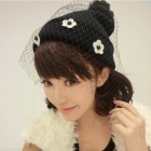 Fashion Women's Flower Decoration Woolen Yarn Cap w/ Mesh Legging - Black