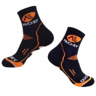NUCKILY EH02 Cozy Anti-bacteria Quick-dry Cycling Stockings - Black + Orange (1 Pair)