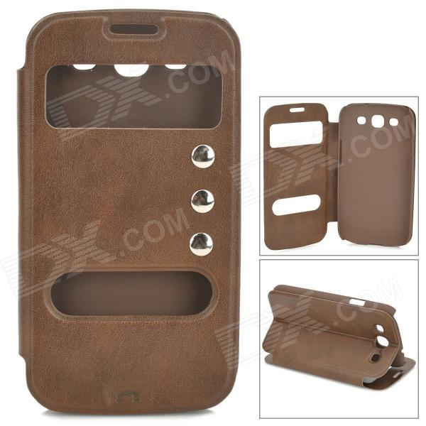 Protective PU Leather Case w/ Dual Display Window for Samsung i9300 - Brown protective case w display window for iphone 4 4s brown