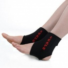 Adjustable Self-heating Pain Relief Ankle Support Warmer - Black + Red (Pair)