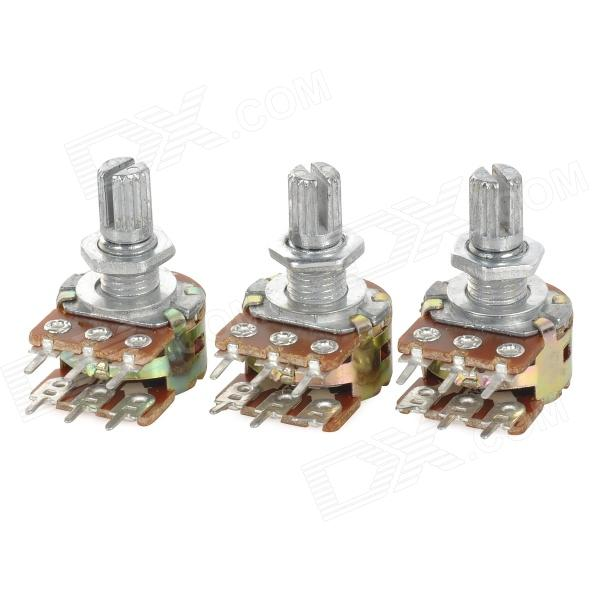 JIAHUI WH148 6-Pin 15mm Dual Stereo Drehpotentiometer - Silber + Gelb (3 PCS)