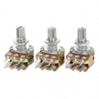 JiaHui WH148 6-Pin 15mm Dual Stereo Rotary Potentiometer  - Silver + Yellow (3 PCS)