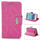 Leaves Style Protective PU Leather Case for Samsung i9300 - Deep Pink