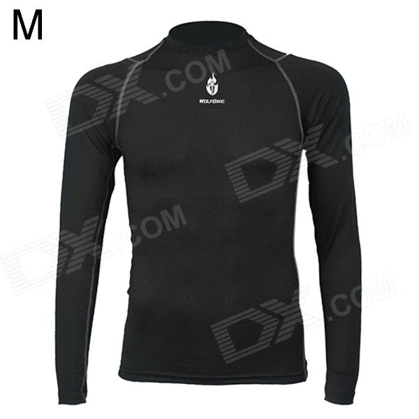 WOLFBIKEBC215-00M Men's Sports Tight Long-sleeve Quick-dry Jersey - Black (Size M)