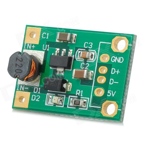 DC-DC (1~5V) Converter Booster Module - GreenPower Module<br>BrandN/AModel111701Quantity1 DX.PCM.Model.AttributeModel.UnitForm  ColorGreenMaterialCopper-clad plate + componentsEnglish Manual / SpecYesOther FeaturesInput 1~5V DC voltage, can stable output 5V DC voltage; 2 x AA batteries, output current: 500~600mA; AA battery, output current: 200mA; Power supply for cellphone, camera, and other digital devices; With USB female; High conversion efficiency up to 96%; Mini size; With working indicatorPacking List1 x Module<br>