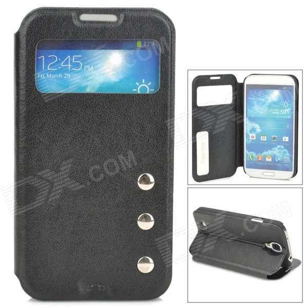 Protective PU Leather Flip-open Case for Samsung Galaxy S4 i9500 - Black protective flip open pu leather case for samsung galaxy s4 i9500 white