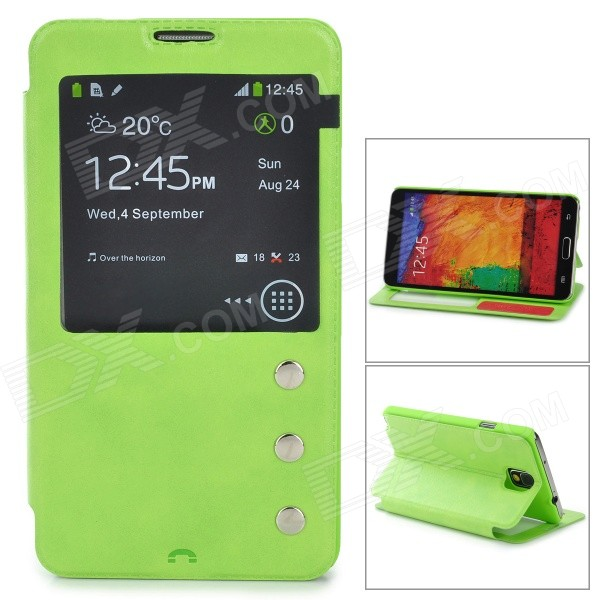 Protective PU Leather Case w/ Display Window for Samsung Galaxy Note 3 N9000 - Green
