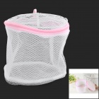 Stylish Folding Plastic + Nylon Underwear Clothes Zipper Washing Bag - White