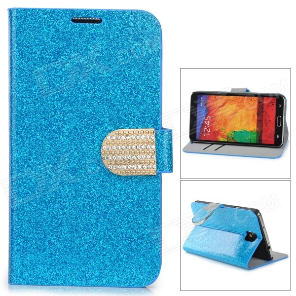 N3-3 Shining Protective PU Leather Case for Samsung Galaxy Note 3 N9000 - Blue protective pu leather case w card holder slots for samsung galaxy note 3 n9000 black