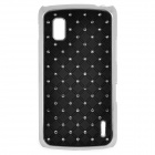 Stylish Protective Rhinestone + Plastic Back Case for LG Nexus 4 E960 - Black + Silver