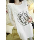 Casual Cotton Women's Round Collar  Long Sleeve T-shirt - White + Black (Free Size)