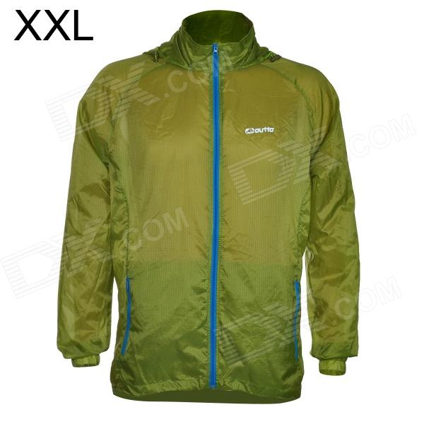 Outto #009A Sports Ultrathin Cycling Running Polyester Jacket - Fluorescent Green (XXL)