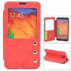 Protective PU Leather Case w/ Display Window for Samsung Galaxy Note 3 N9000 - Red