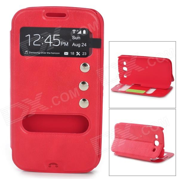 Protective PU Leather Case w/ Display Window for Samsung i9300 - Red stylish protective pu leather case w display window for iphone 4 4s red