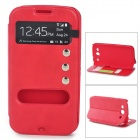 Protective PU Leather Case w/ Display Window for Samsung i9300 - Red