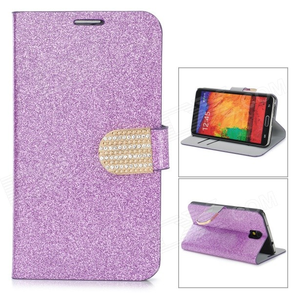 N3-3 Shining Protective PU Leather Case for Samsung Galaxy Note 3 N9000 - Purple protective pu leather case w card holder slots for samsung galaxy note 3 n9000 black