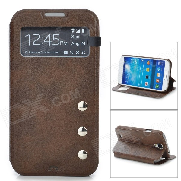 Protective PU Leather Case w/ Display Window for Samsung Galaxy S4 i9500 - Brown protective noctilucent plastic case for samsung galaxy s4 i9500 orange transparent