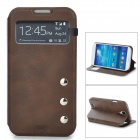 Protective PU Leather Case w/ Display Window for Samsung Galaxy S4 i9500 - Brown