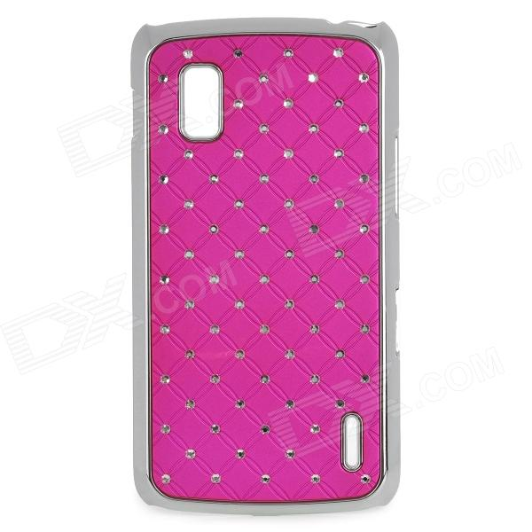 Stylish Protective Rhinestone + Plastic Back Case for LG Nexus 4 E960 - Deep Pink + Silver cartoon pattern matte protective abs back case for iphone 4 4s deep pink