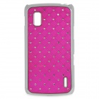 Stylish Protective Rhinestone + Plastic Back Case for LG Nexus 4 E960 - Deep Pink + Silver