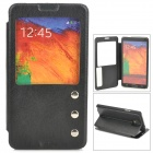 Protective PU Leather Case w/ Display Window for Samsung Galaxy Note 3 N9000 - Black