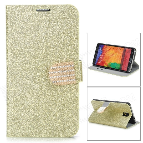 N3-3 Shining Protective PU Leather Case for Samsung Galaxy Note 3 N9000 - Golden protective pu leather case w card holder slots for samsung galaxy note 3 n9000 black