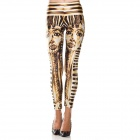 Egyptian Pharaoh Style Digital Painting Tight Leggings - Golden + White + Black (Free Size)
