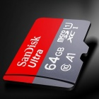 SanDisk Micro SDXC / TF Memory Card w/ SD Card Adapter - Grey + Red (64GB / Class 10)
