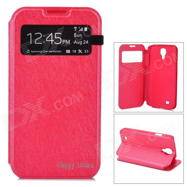 Protective PU Leather Case w/ Display Window for Samsung Galaxy S4 i9500 - Red стоимость