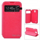 Protective PU Leather Case w/ Display Window for Samsung Galaxy S4 i9500 - Red