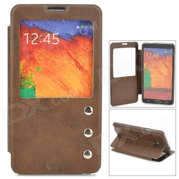 Protective PU Leather Case w/ Display Window for Samsung Galaxy Note 3 N9000 - Brown аксессуар защитное стекло solomon для apple iphone 7 plus