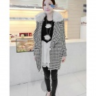 Fashion Women's Woolen Long Coat w/ Wool collar - White + Black (Free Size)