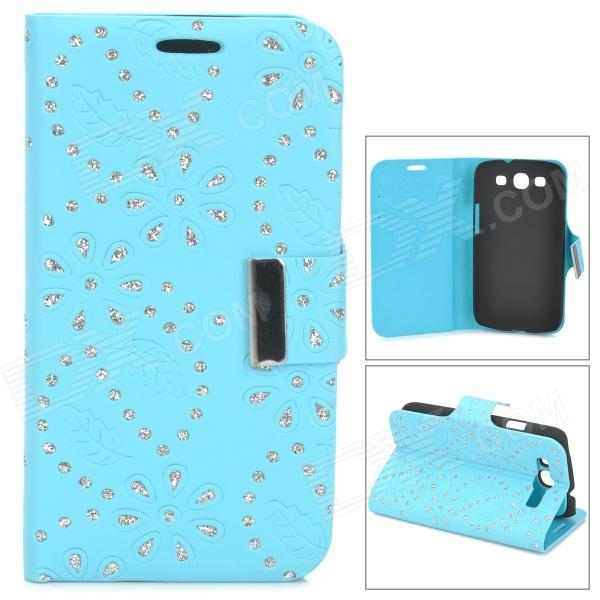 Leaves Style Protective PU Leather Case for Samsung i9300 - Blue m style шкатулка leaves big