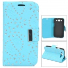 Leaves Style Protective PU Leather Case for Samsung i9300 - Blue