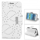 Leaves Style Protective PU Leather Case for Samsung i9300 - White