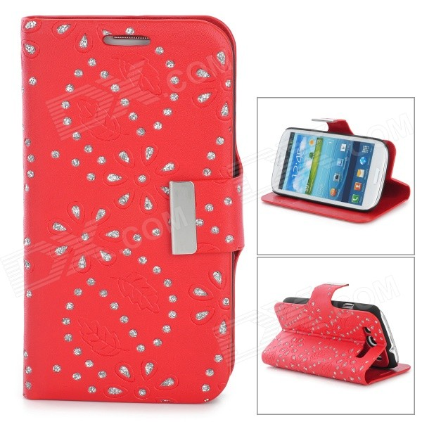 все цены на  Leaves Style Protective PU Leather Case for Samsung i9300 - Red  онлайн