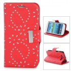 Leaves Style Protective PU Leather Case for Samsung i9300 - Red