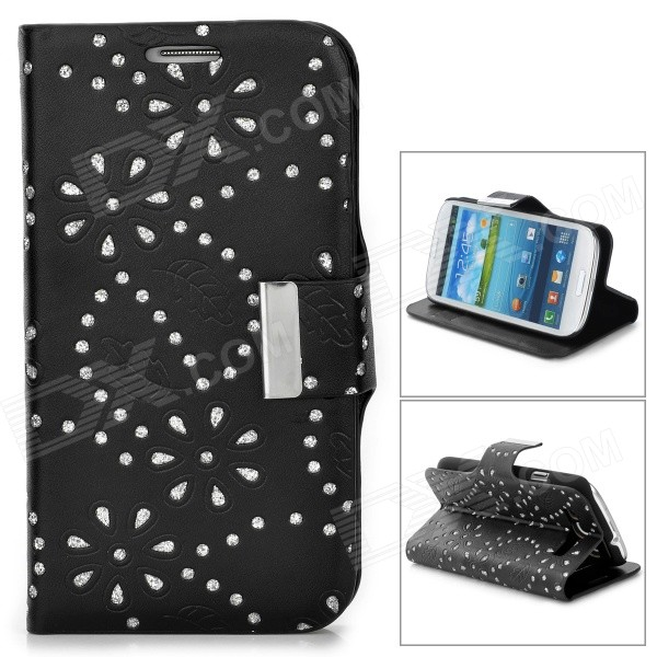 Leaves Style Protective PU Leather Case for Samsung i9300 - Black cool snake skin style protective pu leather case for samsung galaxy s3 i9300 black