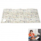 Flower Pattern PU Leather + Electronic Component 60W Heating Table Pad - White + Blue (24V)