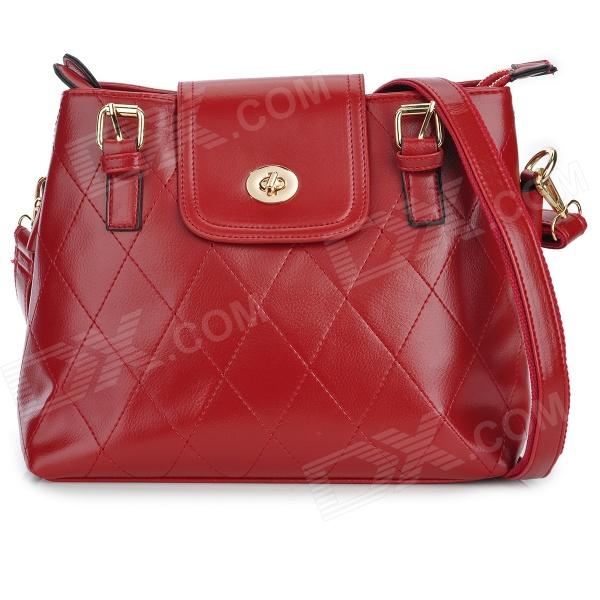 Fashion Women's PU Shoulder Bag w/ Strap - Red