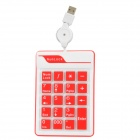 External Silicone USB 2.0 Wired 19-Key Numerical Keypad for Laptops - White + Red