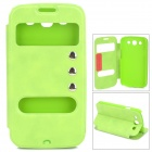 Protective PU Leather Case w/ Dual Display Window for Samsung i9300 - Green