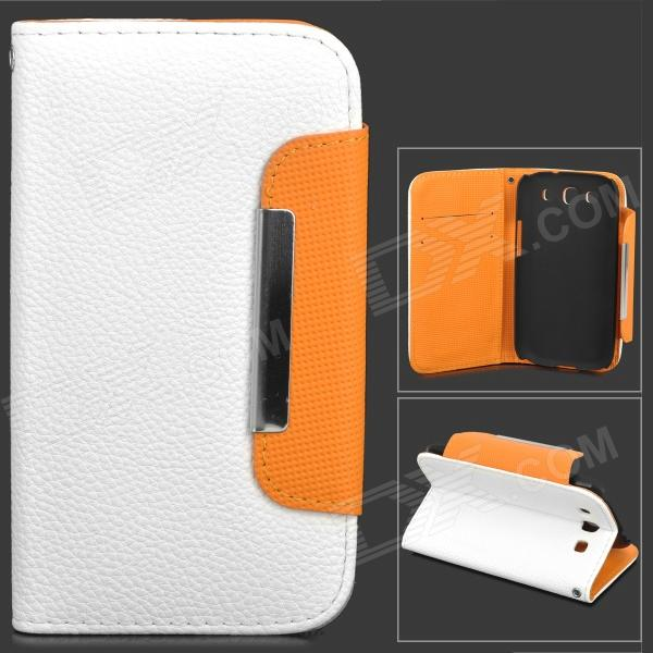 SAS-173 Protective PU Leather Case w/ Card Holder Slots for Samsung i9300 - White + Orange аксессуар чехол asus zenfone go zb500kg zibelino classico red zcl asu zb500kg red