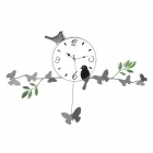 Creative Butterflies & Birds Sitting on Branch Style Wall Mounted Clock - Silver White + Black