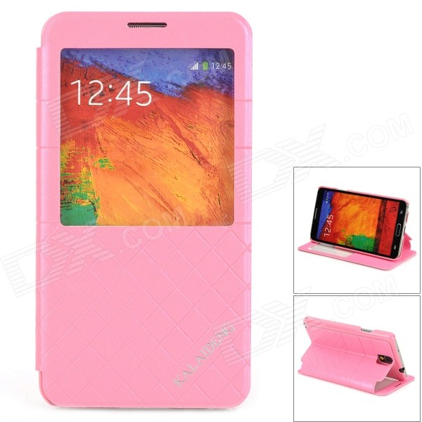 KALAIDENG Protective PU Leather Case w/ Display Window for Samsung Galaxy Note 3 N9000 - Pink