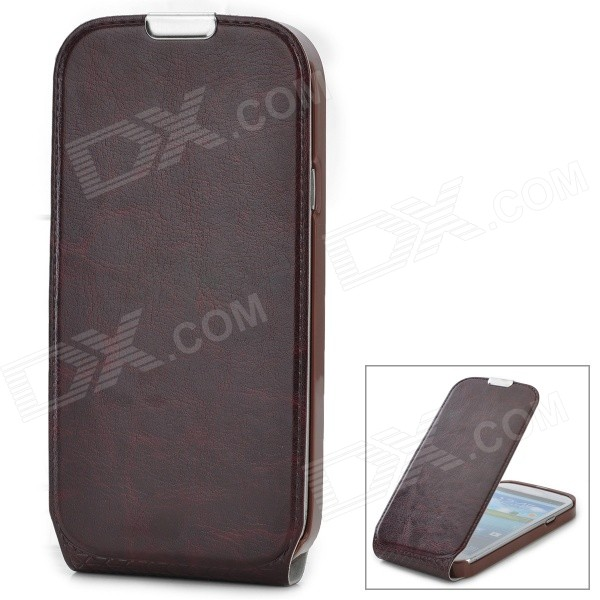 Protective Flip-Open PU Leather Case for Samsung i9300 - Brown