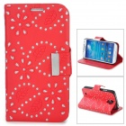 Leaves Style Protective PU Leather Case for Samsung Galaxy S4 i9500 - Red